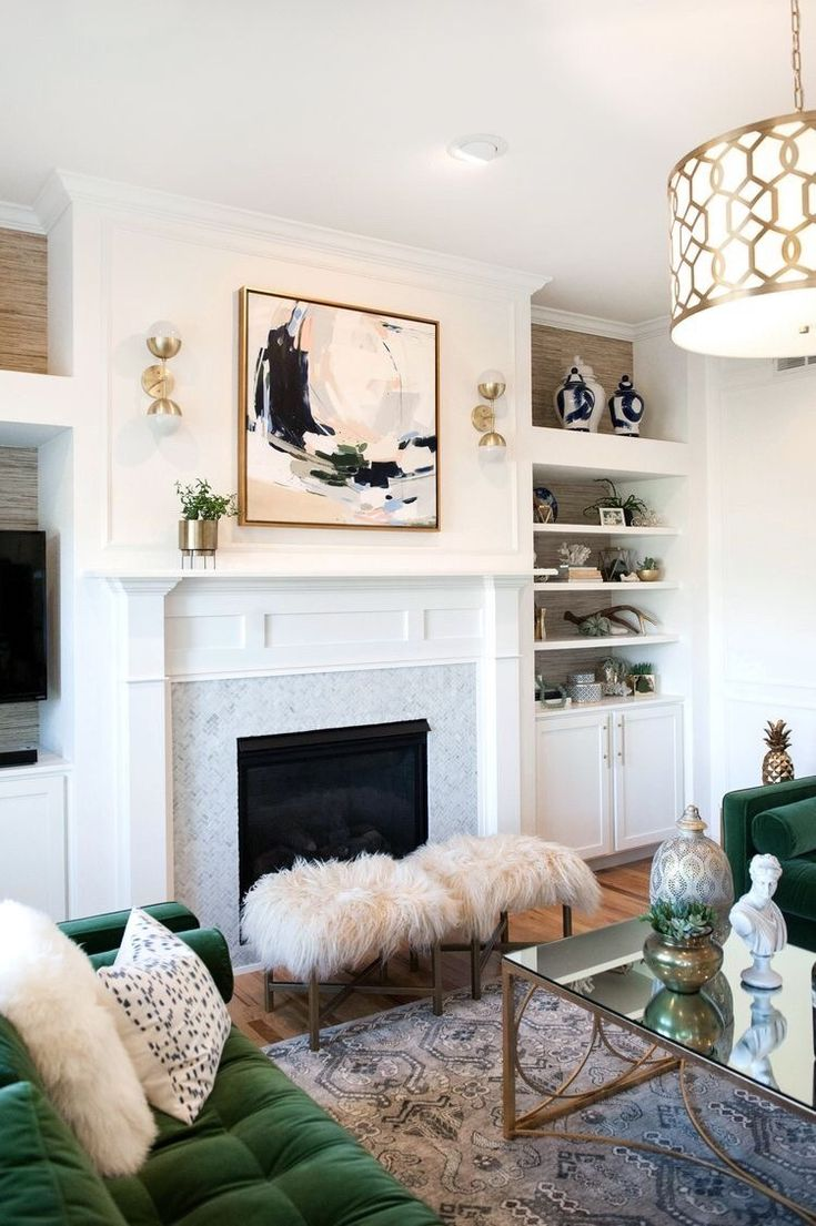 Neutral luxe living room with a small pop of color!
