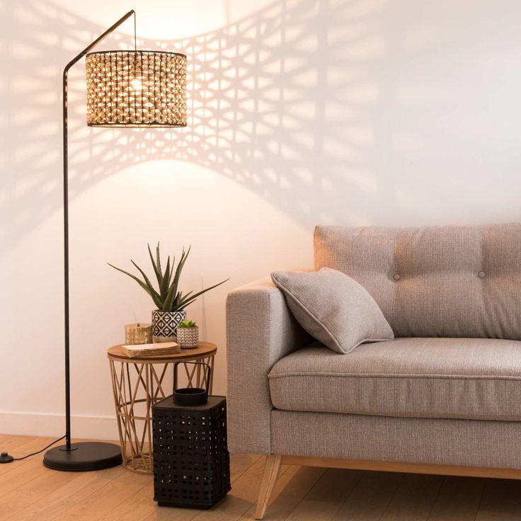 Stehlampe aus schwarzem Metall und Pflanzenfaser H162