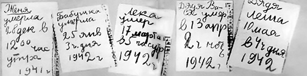 """Tanya Savicheva. The nine page diary of a young girl kept during the siege of Leningrad. Each page marks the death of a family member. On the last pages she wrote, """"Everyone died. Only Tanya is left.""""  The diary was presented at the Nuremberg trials. A memorial was later built that replicates the pages."""
