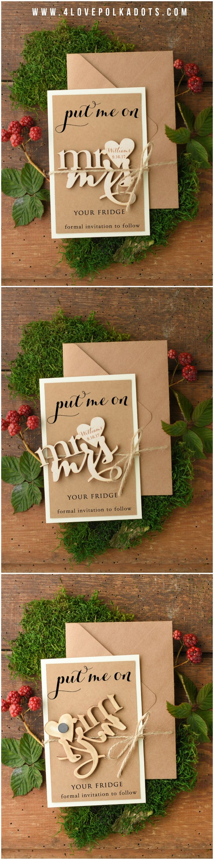 Put me on your fridge! Mr & Mrs Wooden Save the Date Magnet