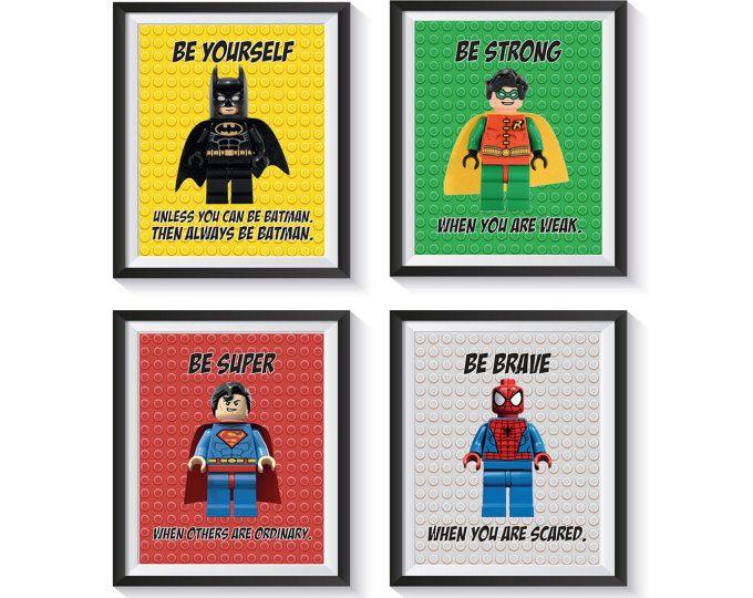 Impresión del arte de inspiración superhéroe Set - cantidad 8 - vivero, dormitorio, sala de juegos decoración niño - AVENGERS, BATMAN, SUPERMAN +