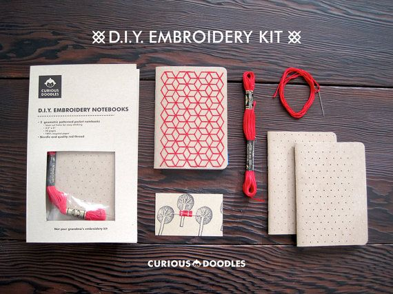 DIY Geometric Pocket Notebook Embroidery Kit by curiousdoodles