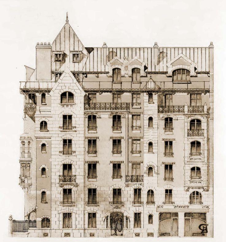 Особняк Беранже в Париже. Фасад здания. Архитектор Эктор Гимар. 1900 г.
