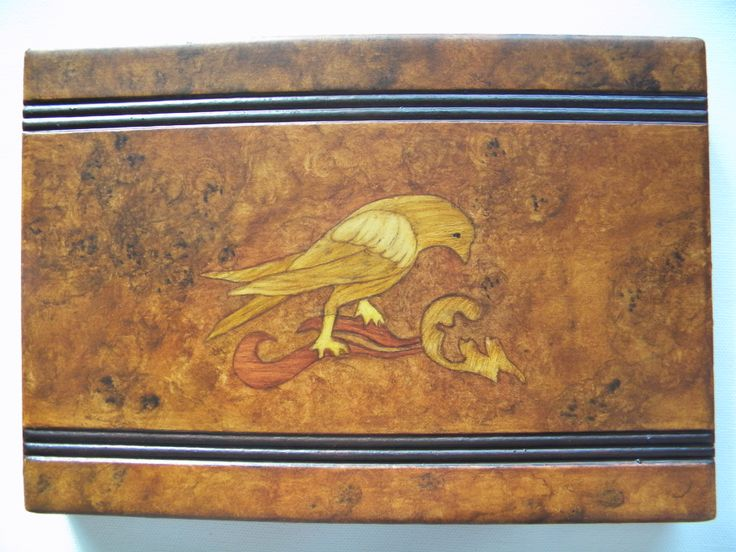 Painted intarsia/inlaid Wood and graining on old box.