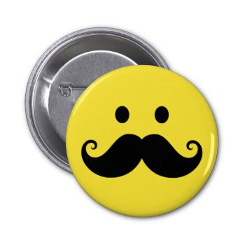 Cute and cool design featuring a funny smiley face with a big black mustache. Also available with other color backgrounds. Trendy and hip stache design.