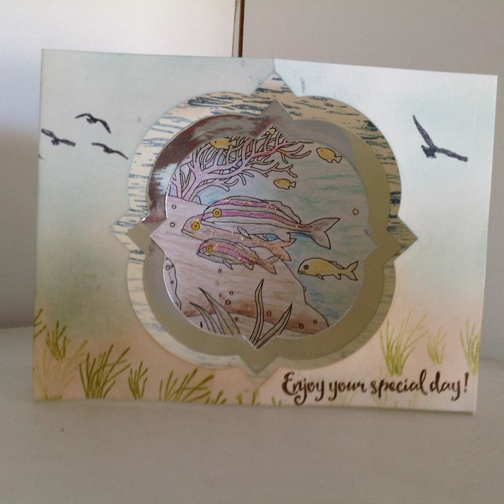 This is a Diorama card I made with the 'High Tied' stamp set and the 'Just Add Colour' DSP the card stock is Very Vanilla, all of the products are from Stampin'up!