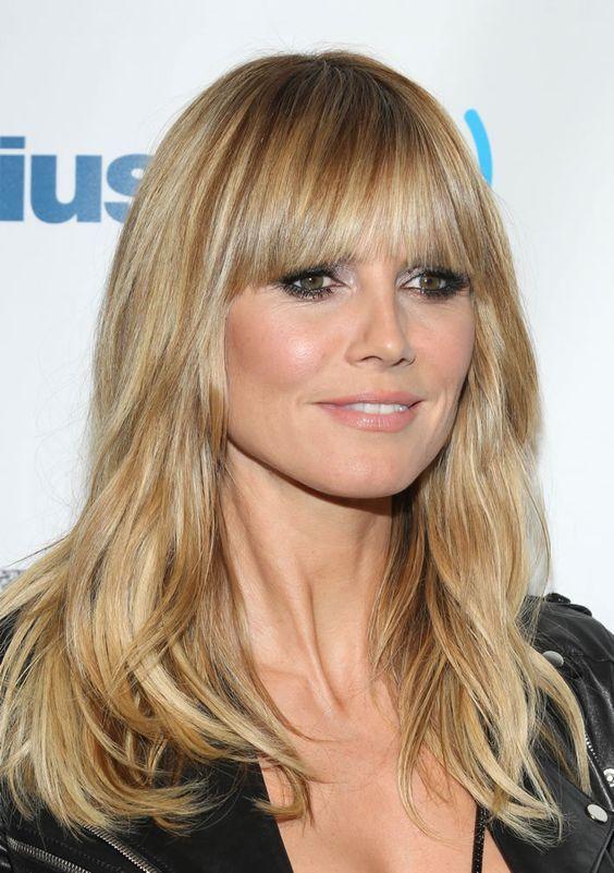 La frangia stile Anni \u002770 di Heidi Klum hairstyle haircut bang fringe  longhair blondehair