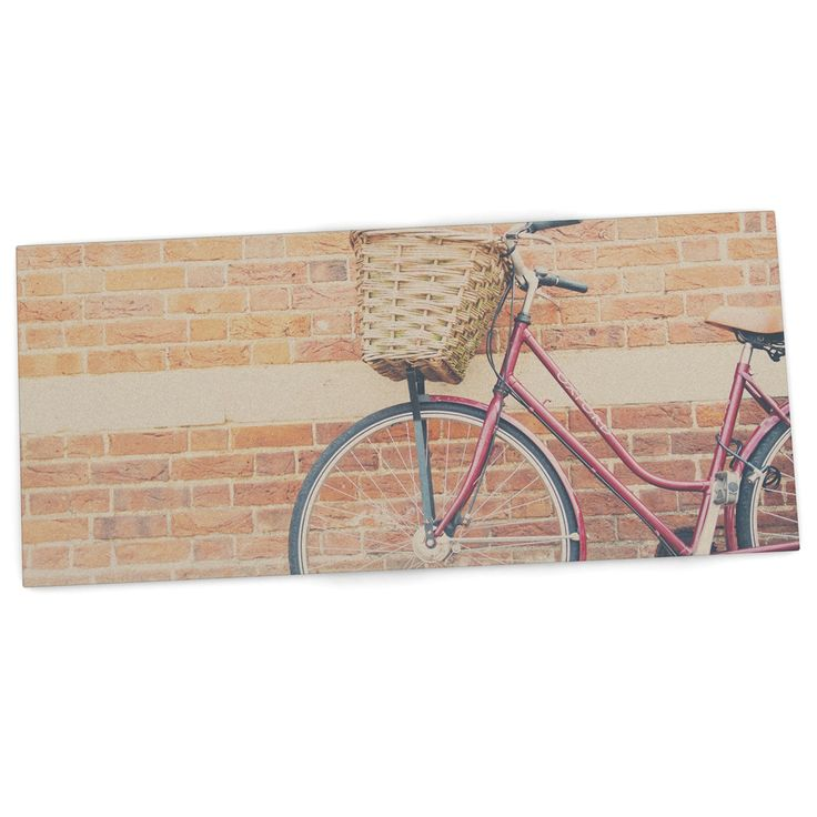 "Laura Evans ""A Red Bicycle"" Orange Brown Desk Mat"