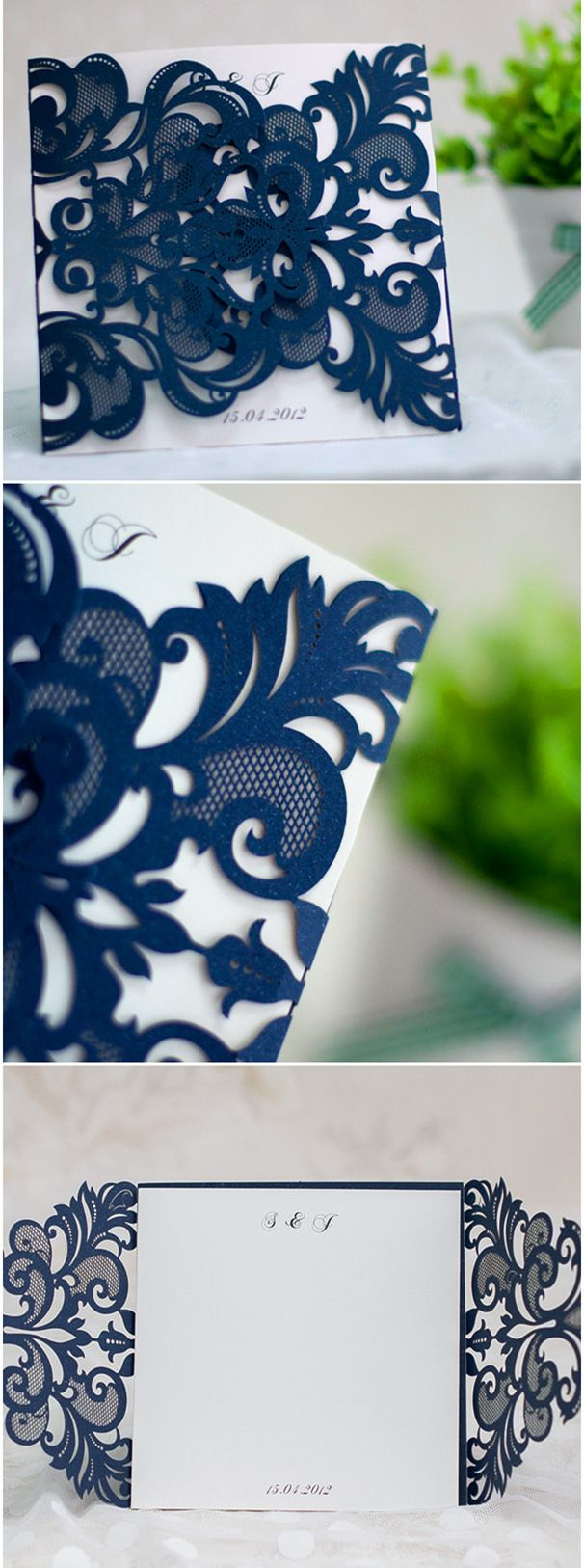 elegant navy blue laser cut pocket wedding invitations, several colors available
