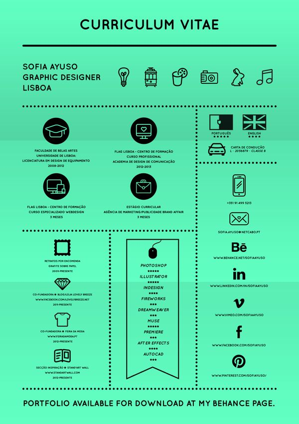 Curriculum Vitae by Sofia Ayuso, via Behance