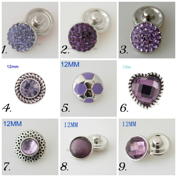 Mini snap charms in all shades of purple and compatible with Petite Ginger Snaps Jewelry. by Snapdora on Etsy
