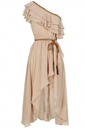 Enchanted Forest One Shoulder Chiffon Dress in Beige
