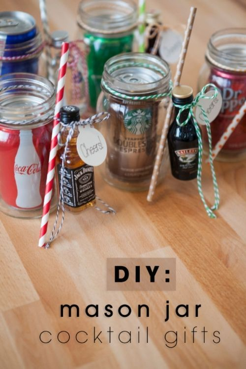 Mini-cocktails can come in handy this holiday season. Give them as a gift in these adorable mason jars for a good time!