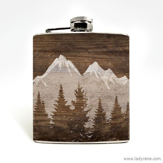 Mountain Landscape Whiskey Flask Nature Hiking Camping Flask Outdoors Climbing Adventure Wanderlust Stainless Steel Holiday Stocking Stuffer