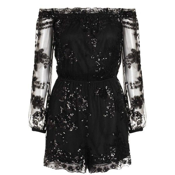 Danielle's Black Sequin Mesh Bardot Long Sleeve Playsuit ($48) ❤ liked on Polyvore featuring jumpsuits, rompers, dresses, one piece, long-sleeve rompers, sequin rompers, sequin romper, long sleeve sequin romper and playsuit romper