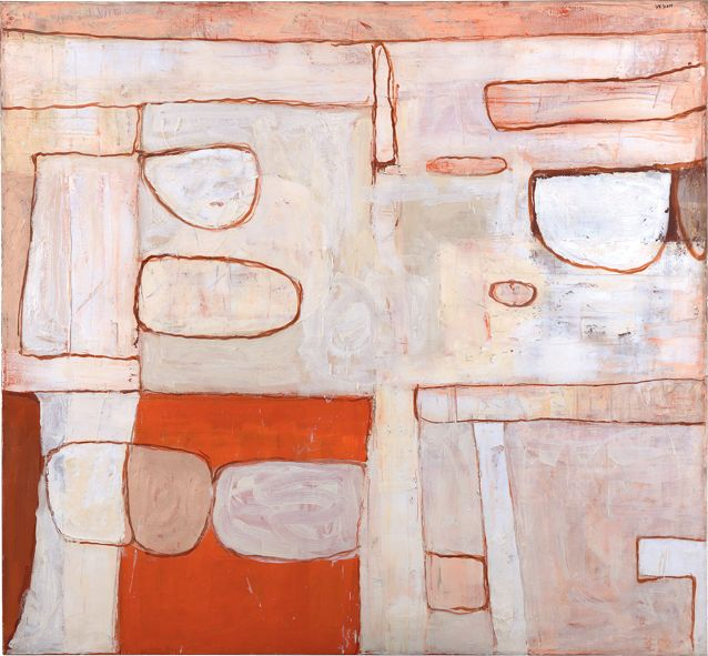 William Scott, Nile Valley Red and White, 1962, Oil on canvas, 160 × 172.7 cm / 63 × 68 in, Private collection
