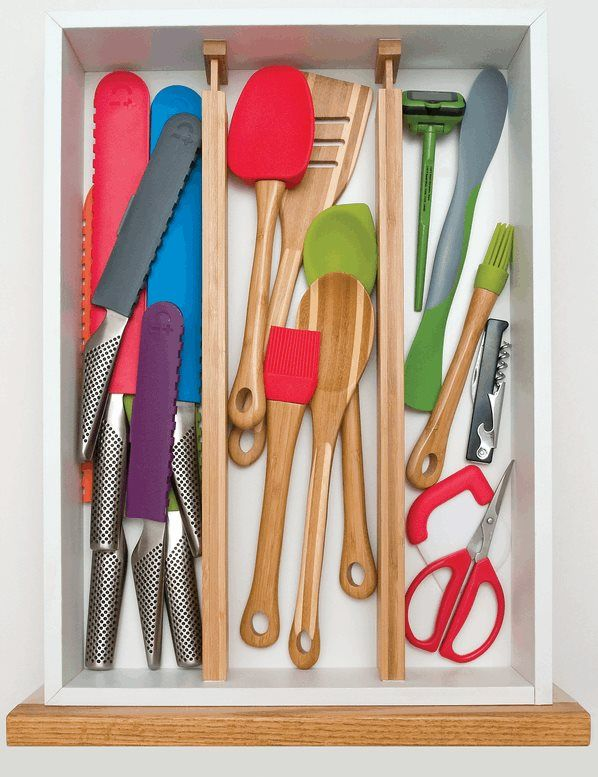 Organize your kitchen drawers by splitting them into more compartments with these bamboo spring loaded drawer dividers. Easy to install with a spring loaded arm and easy to remove and clean, these drawers will help organize your kitchen.