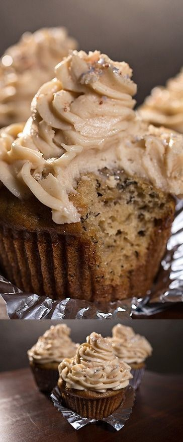 """""""Velvet Elvis"""" Cupcakes with Moist Banana Cake and Rich, Peanut Butter-Cream Cheese Frosting, sprinkled with Sweet Buttered-Toffee Peanuts"""