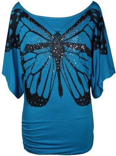 New Ladies Short Sleeve Glitter Butterfly T-Shirt Womens Stretch Gathered Batwing Top Plus Size Purple Hanger, http://www.amazon.co.uk/dp/B00BQGORP6/ref=cm_sw_r_pi_dp_Cf2bsb1Y279V5