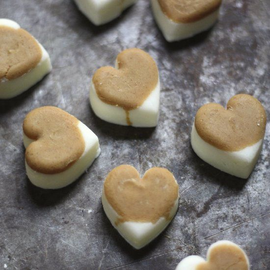 Simple recipe for heart shaped natural dog treats using peanut butter ...