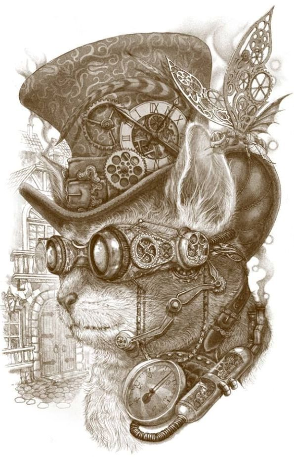 Steampunk cat print -  not sure whom the artist is but this is wonderful.