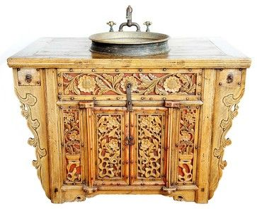Chinese Altar Coffer Repurposed as a Sink Vanity asian bath products