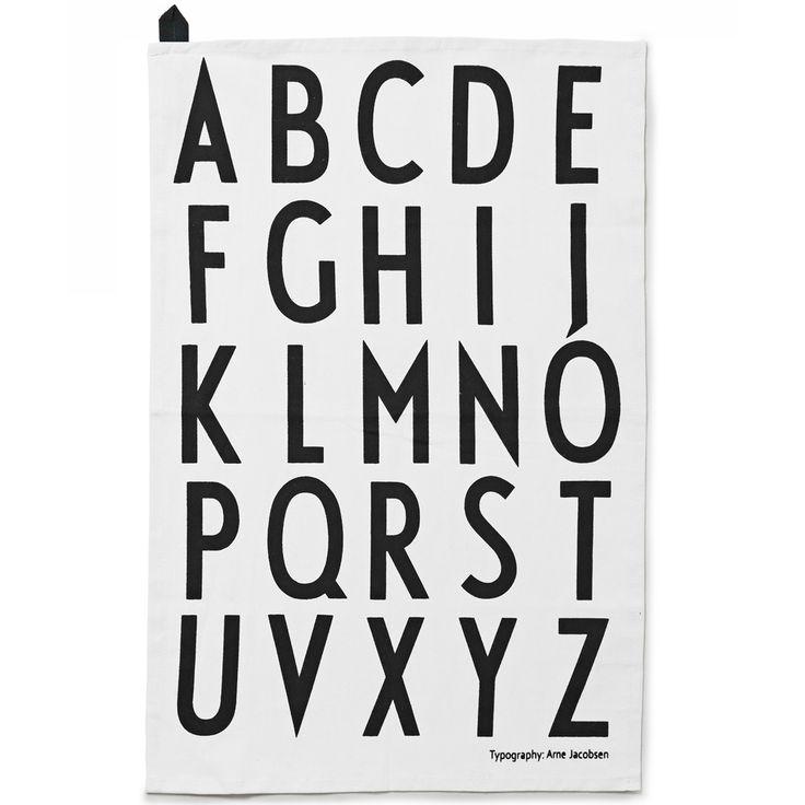 design letters kjøkkenhåndkle 2pk hvit