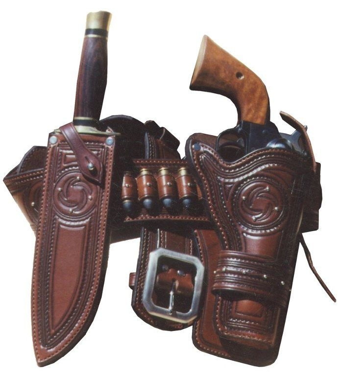 Made for the most discriminating gun owner, this rich looking rig features border stamping, spotwork, nickel buckle and full lining. Can be made for most single action revolvers and hunting knives. $500