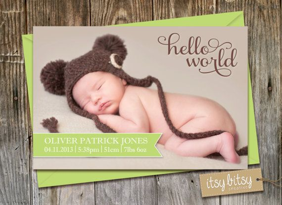 Birth Announcement, Baby Announcement, Baby Boy or Baby Girl, Printable Photo Baby Announcement, Green & Brown Hello World Birth Stats Card