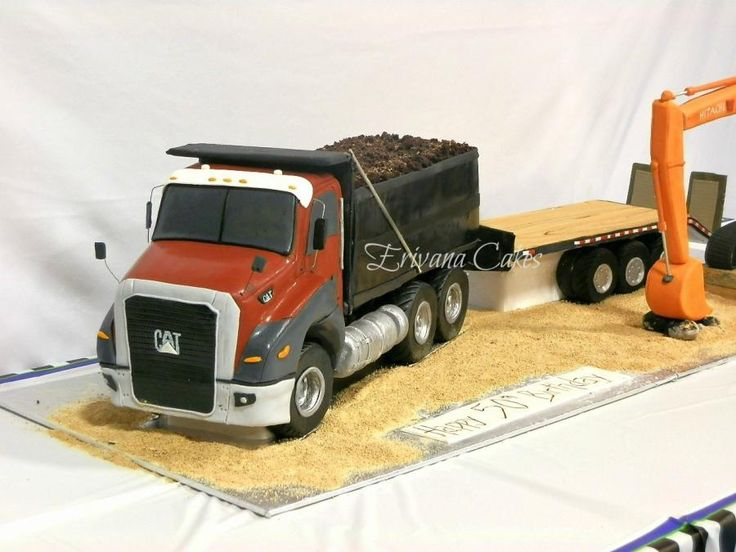 Truck, Float, and Excavator cake - Cake by erivana