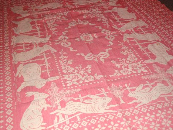 Vintage Fab Pink And White Easter Bunny Rabbit Tablecloth