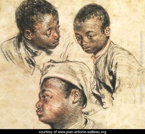 Three Studies of the Head of a Young Negro - Jean-Antoine Watteau - www.jean-antoine-watteau.org