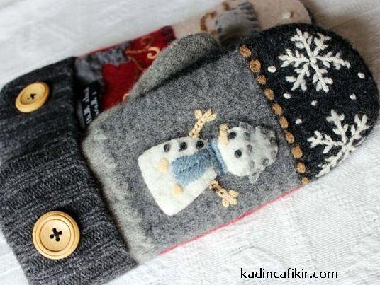 Eski kazak ile yapılabileceklerden, kardam adam motifli kar desenli kadın eldiven modeli | Kadınca Fikir