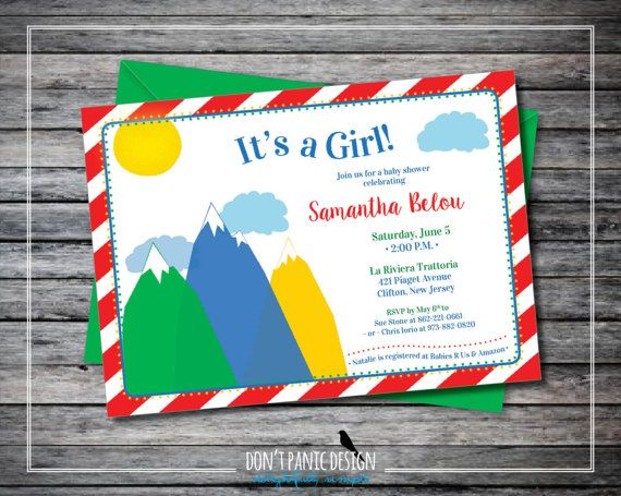 Printable Mountin Baby Shower Invitation - Fun, Red Striped, Primary Color Mountain - Boy, Girl, Gender Neutral Baby Shower Invitation