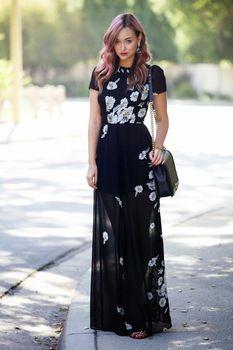 Тропический цветочный принт длиной макси платье 2015 новый Fshion женские летние шифоновые платья черный цвет с коротким рукавом элегантные свадебные платья