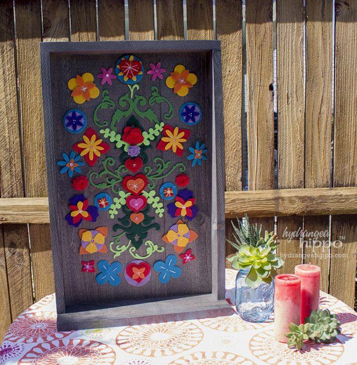Folk Art Home Decor: Removable Felt Flower Collage