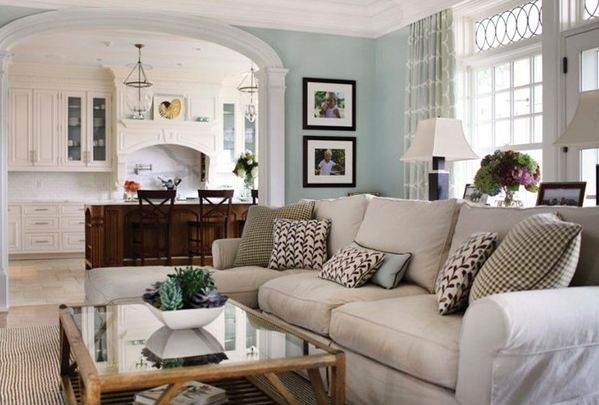 Best Colour Scheme Blue Walls Cream Sofa Living Room 640 x 480