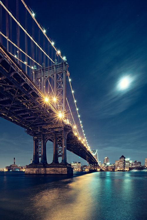 Brooklyn Bridge by moonlight. #NYC