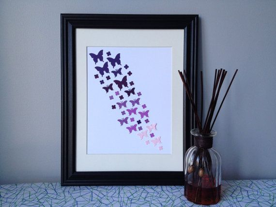 Butterfly Paper Wall Art  Ombre Purple Palette by 1981Collective