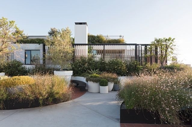 A communal garden abuts the penthouse's private garden.