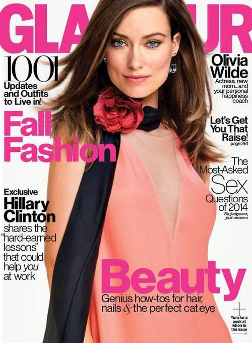 Magazine Cover: Olivia Wilde in red rose applique black scarf + coral dress for the cover of Glamour September 2014.