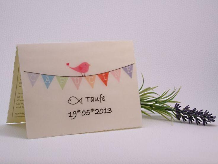 Aus der Klappkarten-Serie *Lyrical Card* findet Ihr hier die Tauf-Edition.   Auf dem Deckblatt hüpft ein süßer kleiner Vogel auf der Wimpelkett...