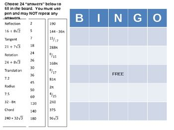This is a bingo game created to review for the final for second semester in geometry. The problems include the following topics:   1) transformations  2) basic trigonometry  3) properties of circles to find angle measures and arc lengths  4) area, surface area, volume, and perimeter of various shapes (prism, kite, cylinder, hexagon, triangle, parallelogram)  6) special right triangles  7) vocabulary (chord, tangent, radius)  8) similarity ratio   Answers are included for quick reference.