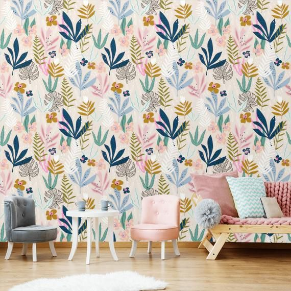 Peel And Stick Floral Wallpaper Mural Self Adhesive Removable Wall Paper Vibrant Color Flowers Kids In 2021 Girls Room Wallpaper Mural Wallpaper Floral Wallpaper