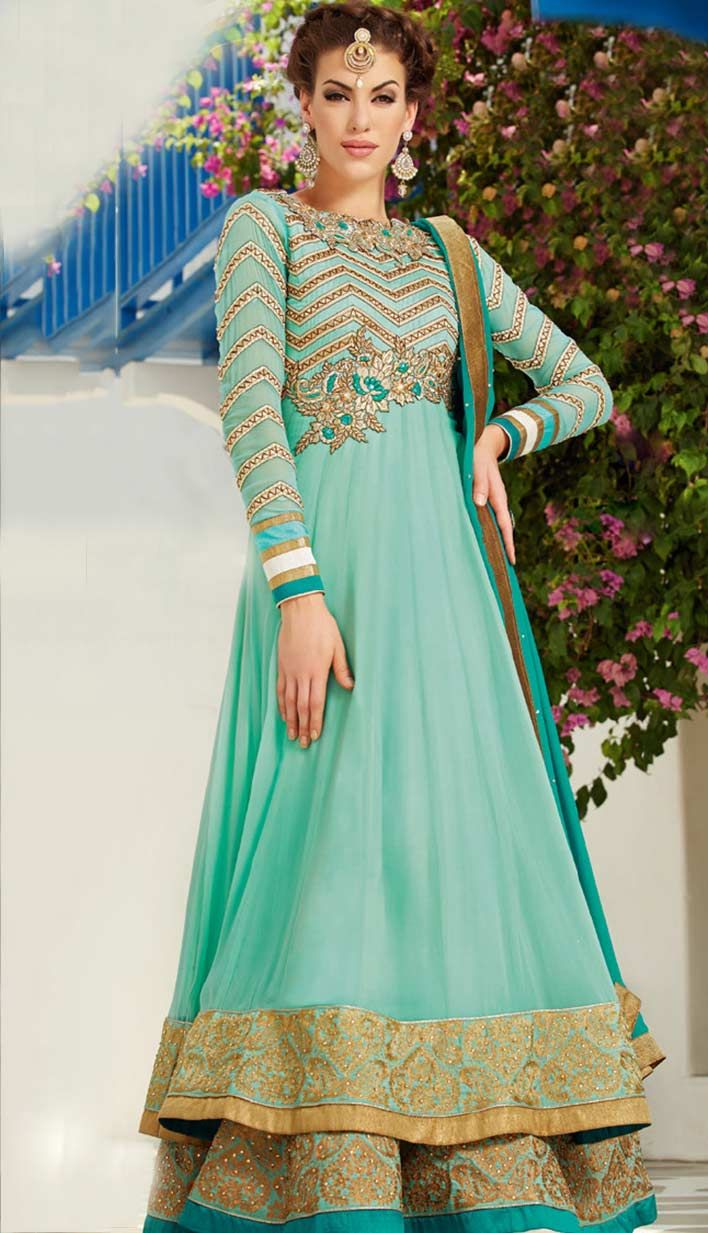 Online Latest Fashionable Indian Latest Turquoise Art Silk Georgette #Anarkali Dresses with Latest Collection of Saree at Affordable Price. #Price INR- 6210 Link-http://alturl.com/kkz4f