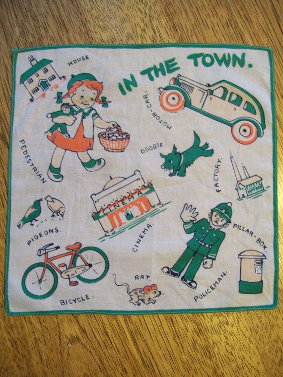 Adorable VINTAGE Hankie  Children's British In by PlatypusDream, $6.00