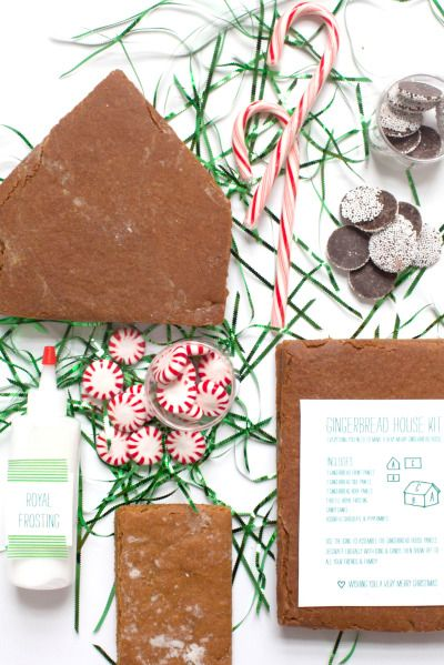 DIY gingerbread house kits: http://www.stylemepretty.com/living/2014/12/10/diy-gingerbread-house-kit/ #SMPHolidays