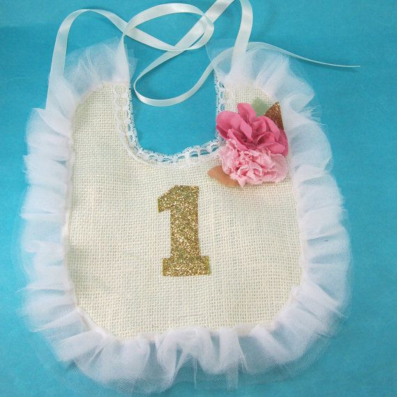 Custom Shabby Chic burlap birthday bib for by Hartranftdesign, $25.00