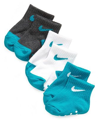 Nike Baby Socks, Baby Boys Simple Swoosh Non-Skid 3-Pack Socks - Kids Baby Boy (0-24 months) - Macy's