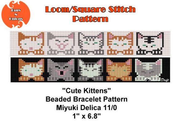 Loom Beaded Bracelet Pattern, Cute Kittens, Seed Bead Pattern, Looming Pattern, Instant Download, PDF File